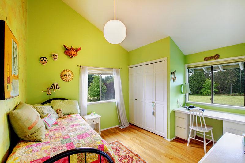 اصول نقاشی اتاق خواب کودک | نکات رنگ آمیزی اتاق کودک | اتاق کودک سبز