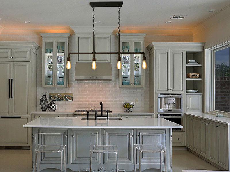 دکوراسیون آشپزخانه جزیره ای - بازسازی آشپزخانه و نورپردازی آشپزخانه جزیره ای