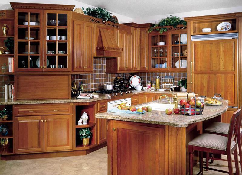 مدل کابینت تمام چوب آشپزخانه