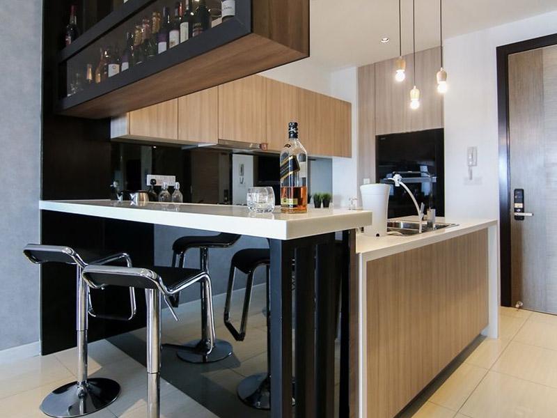 زیباترین مدلهای اپن آشپزخانه ام دی اف سفید و مشکی