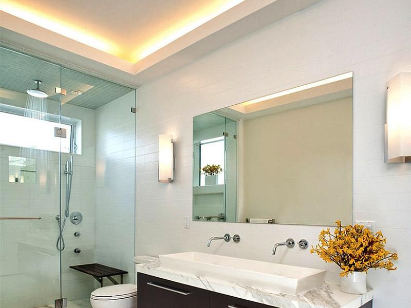 استفاده از چراغ سقفی سرویس بهداشتی و حباب لامپ سرویس بهداشتی پنهان در کنار گچکاری