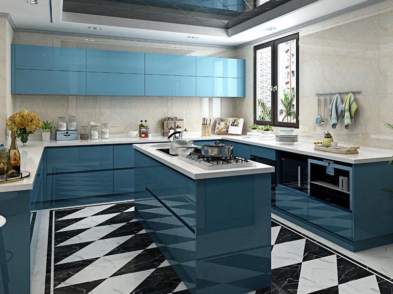 یکی از بهترین انواع رنگ کابینت های گلاس استفاده از دو طیف رنگ آبی است.